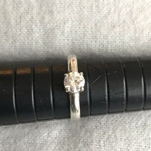 CZ Solitaire Ring in Sterling Silver SZ 5